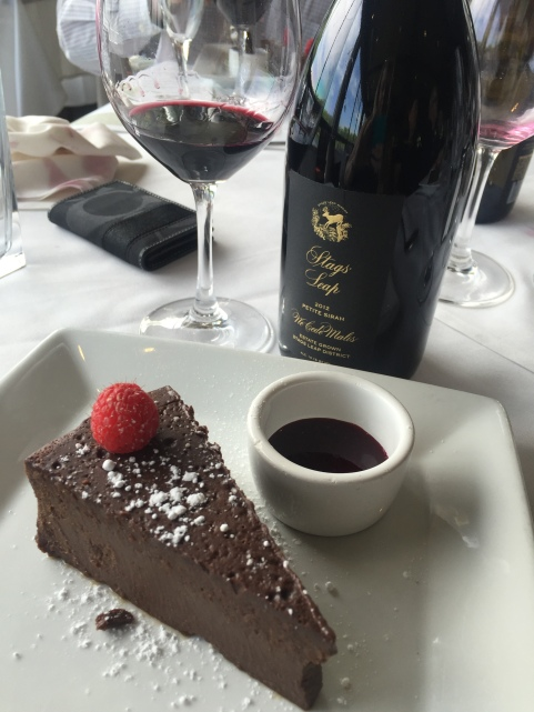 Wonderful way to finish off a Stags' Leap Winery Dinner; flourless chocolate cake with Ne Cede Malis!