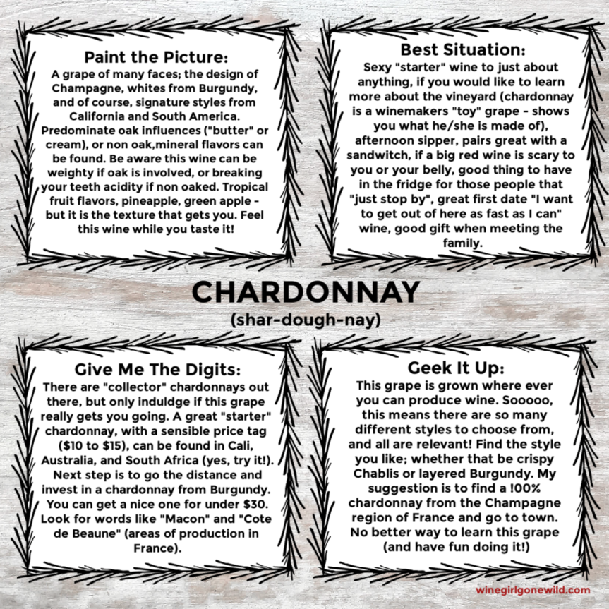 quickie card - chardonnay